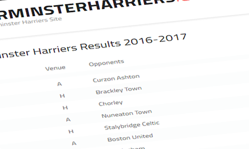 Fixtures Released; Harriers Start Away